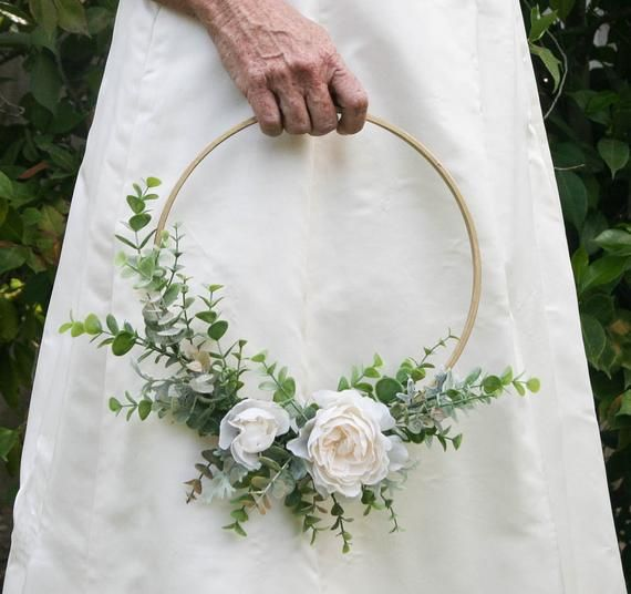 Photo of Wedding Hoops with Eucaliptus Greenery and Flowers Bridal Shower Decor, Baby Room Decor Backdrop Photo Backdrop floral wreath on wood hoops