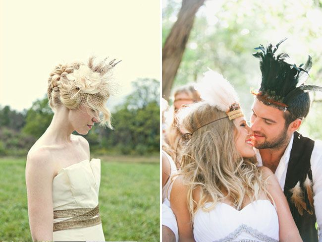 2 feather headpieces