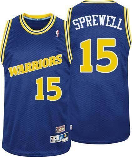 04f972bee7c0f Warriors  15 Latrell Sprewell Blue Throwback Stitched NBA Jersey Latrell  Sprewell