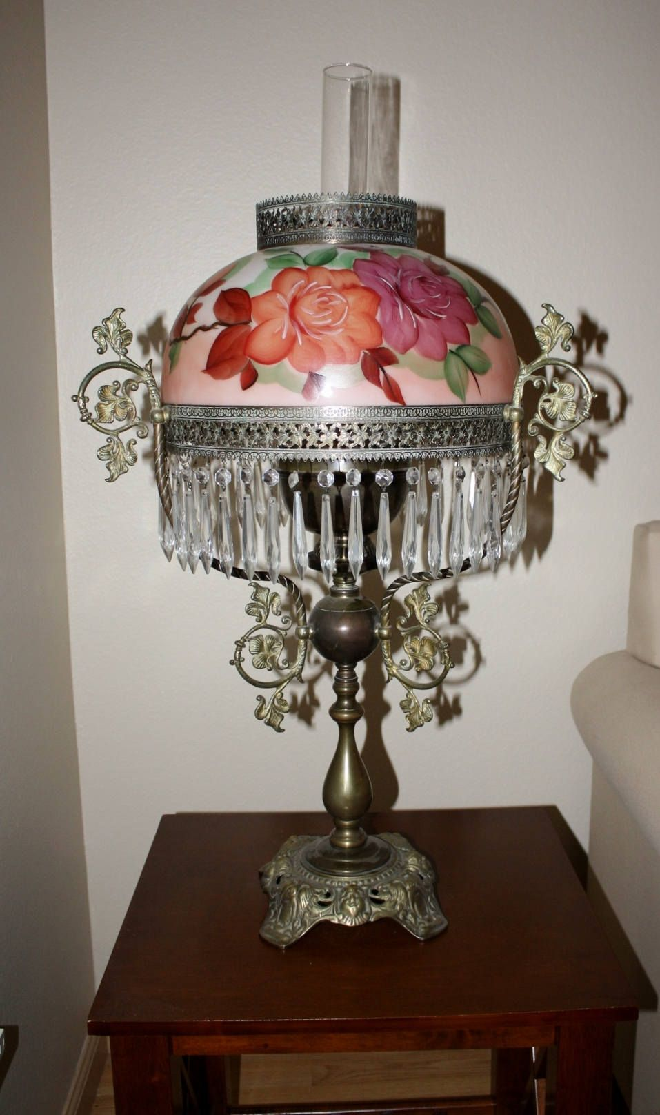 Antique victorian oil table lamp pink floral handpainted hanging antique victorian oil table lamp pink floral handpainted hanging prisms 1800s oil lamp geotapseo Gallery