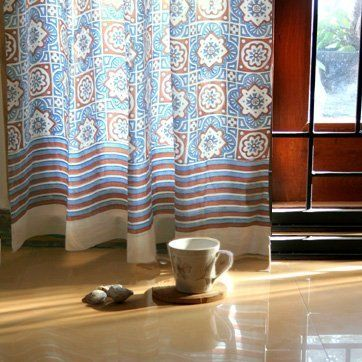 Ocean Breezes Rustic Casual Blue Brown Moroccan Beach Curtains