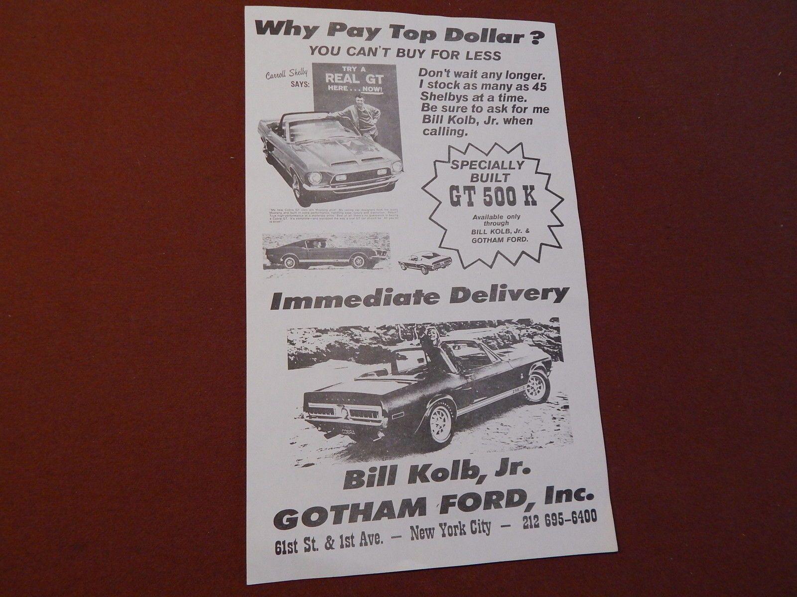 1968 mustang shelby original gotham ford dealer sale brochure flyer
