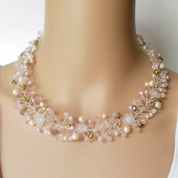 Pink Wire Twisted Necklace Beaded Wire Bridal Necklace