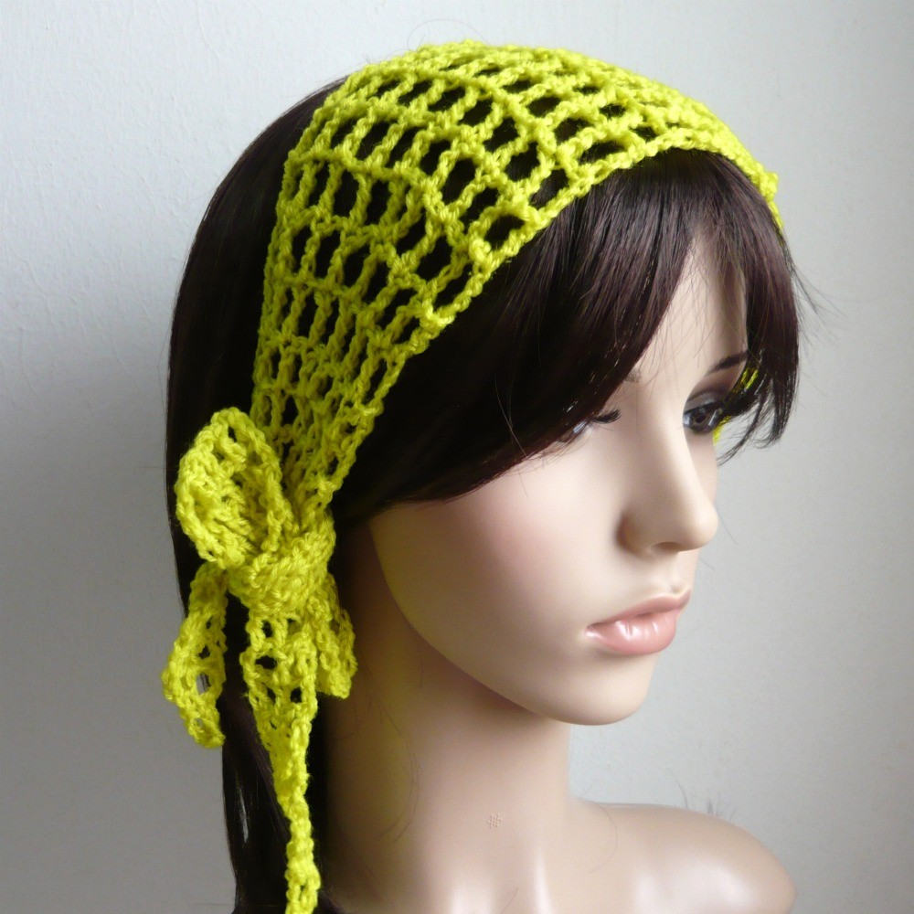 Gypsy style Crochet Hair band / short scarf in pear color OR choose ...