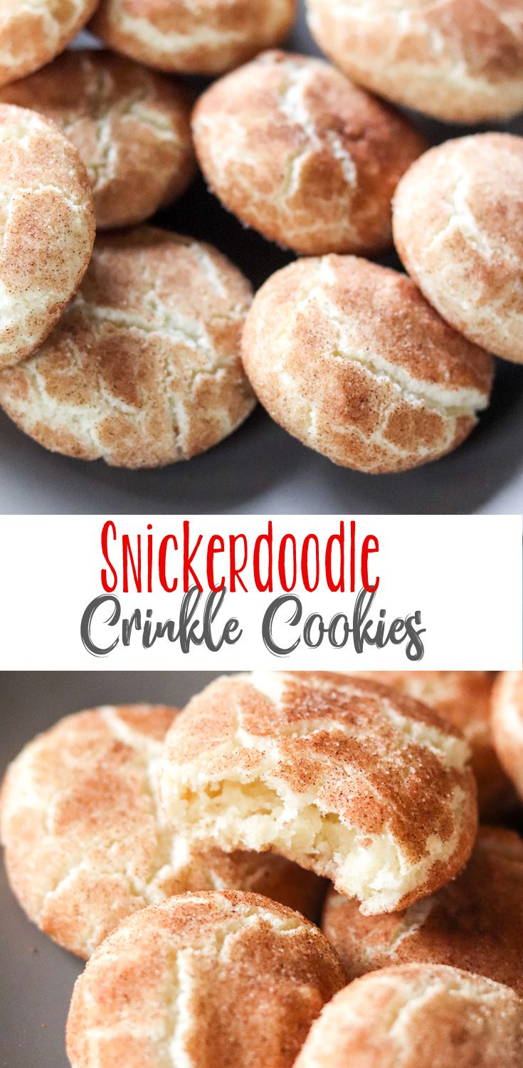 Crinkle Cookies are a true Christmas Cookie, and these Snickerdoodle Crinkle Cookies are truly special. Buttery cinnamon flavored crinkle cookies topped with cinnamon sugar instead of the traditional powdered sugar. So good! #christmascookies