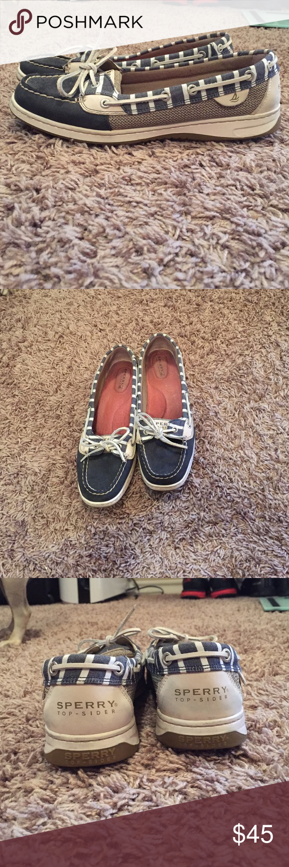 Sperry top siders Navy blue and cream colored Sperry top siders Sperry Top-Sider Shoes Flats & Loafers