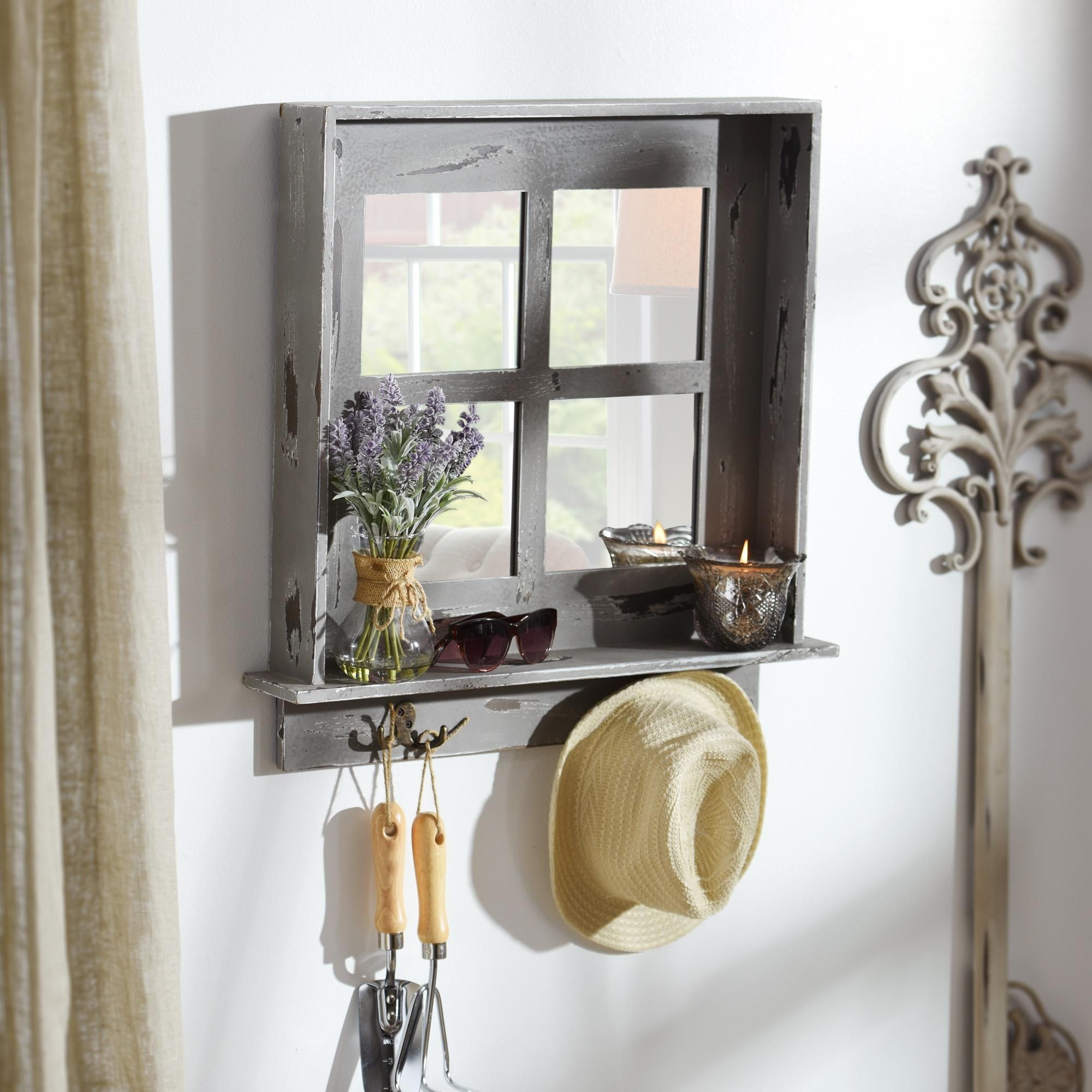 Gray Window Pane Wall Shelf Mirror With Hooks Old Window