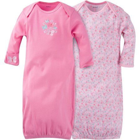 Gerber Newborn Baby Girl Lap Shoulder Gowns, 2-Pack, Size: 0 - 6 Months, Green