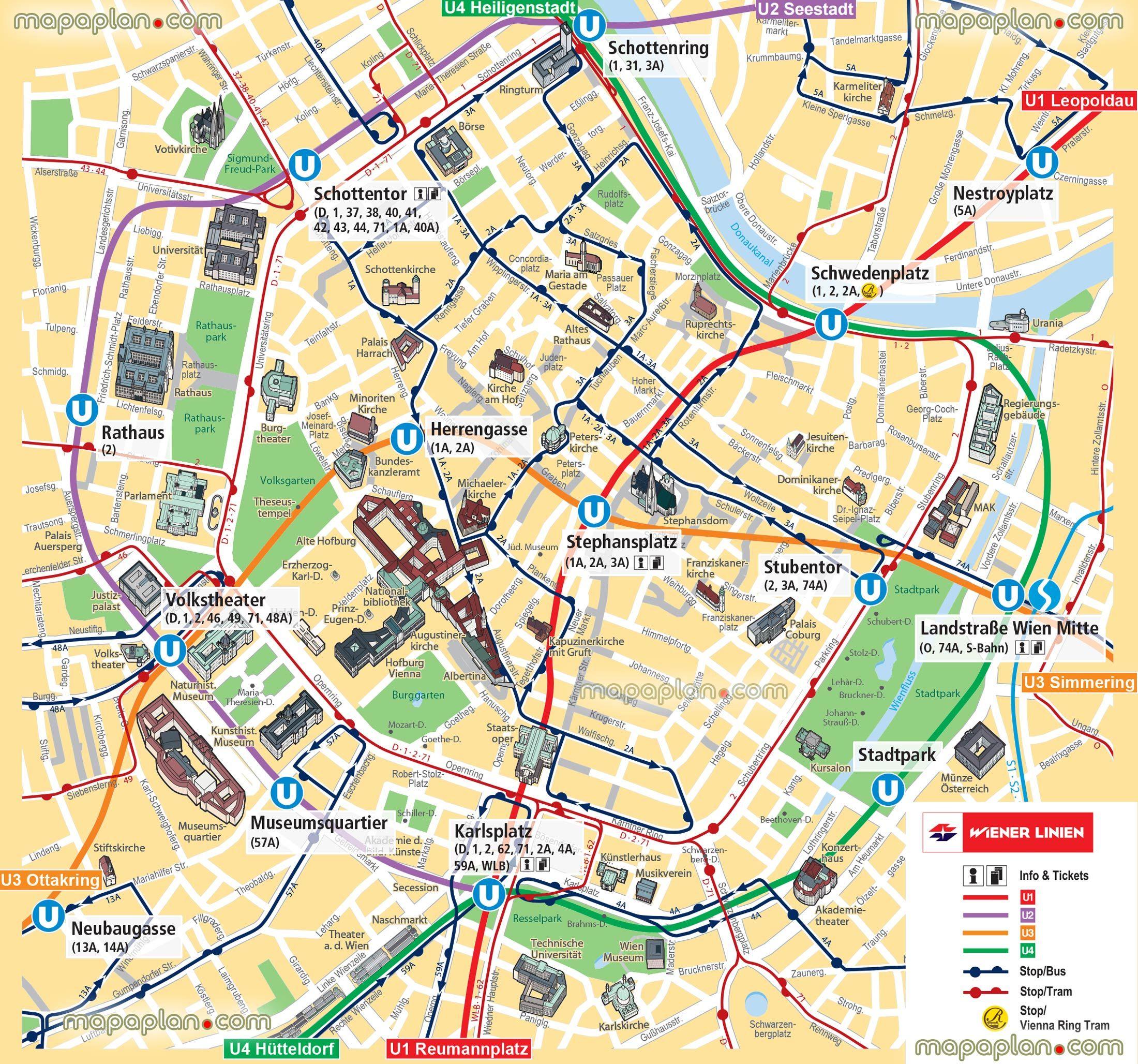 Vienna map UBahn underground subway metro stations tram stops