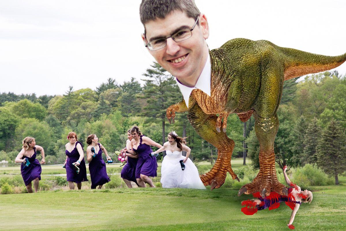 Dinosaur Chasing Wedding Party Dinosaur Wedding Wedding Party Wedding