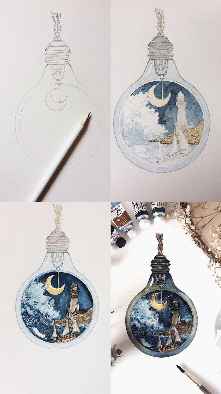 Login -  Step by step process photos of a nautical theme watercolor lightbulb painting. Mini watercolor tuto - #Artists #ceramics #ComicsAndCartoons #login