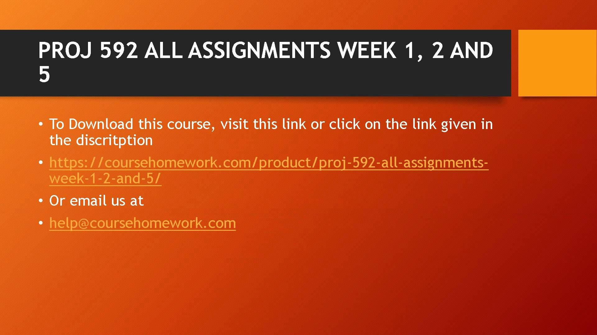 PROJ 592 ALL ASSIGNMENTS WEEK 1, 2 AND 5