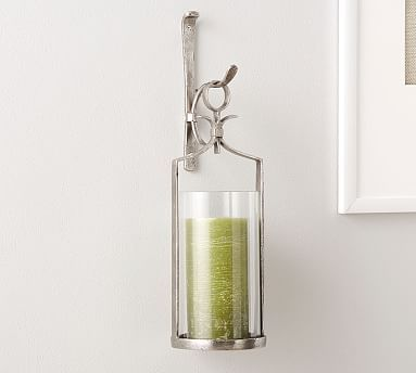 Artisanal Wall Mount Candleholder Silver Candle Holder Wall Sconce Glass Hurricane Candle Holder Wall Mounted Vase