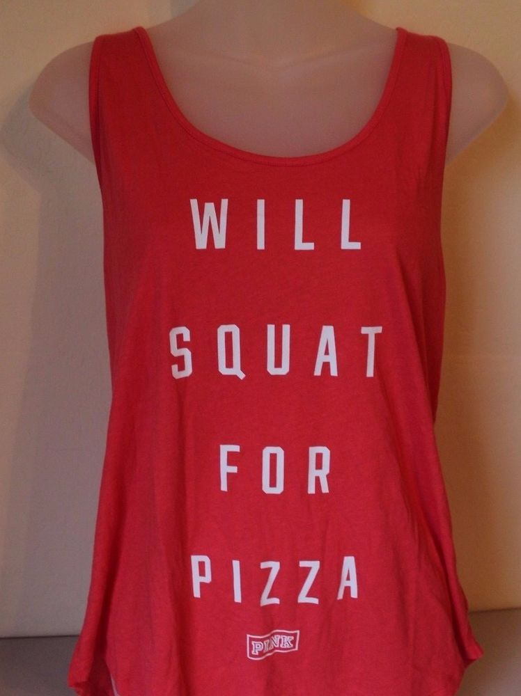 "PINK Victoria's Secret Muscle Tank Orange ""Will Squat for Pizza"" Large - NEW…"