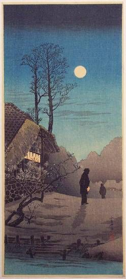 Image result for japanese art girl walking in the moonlight