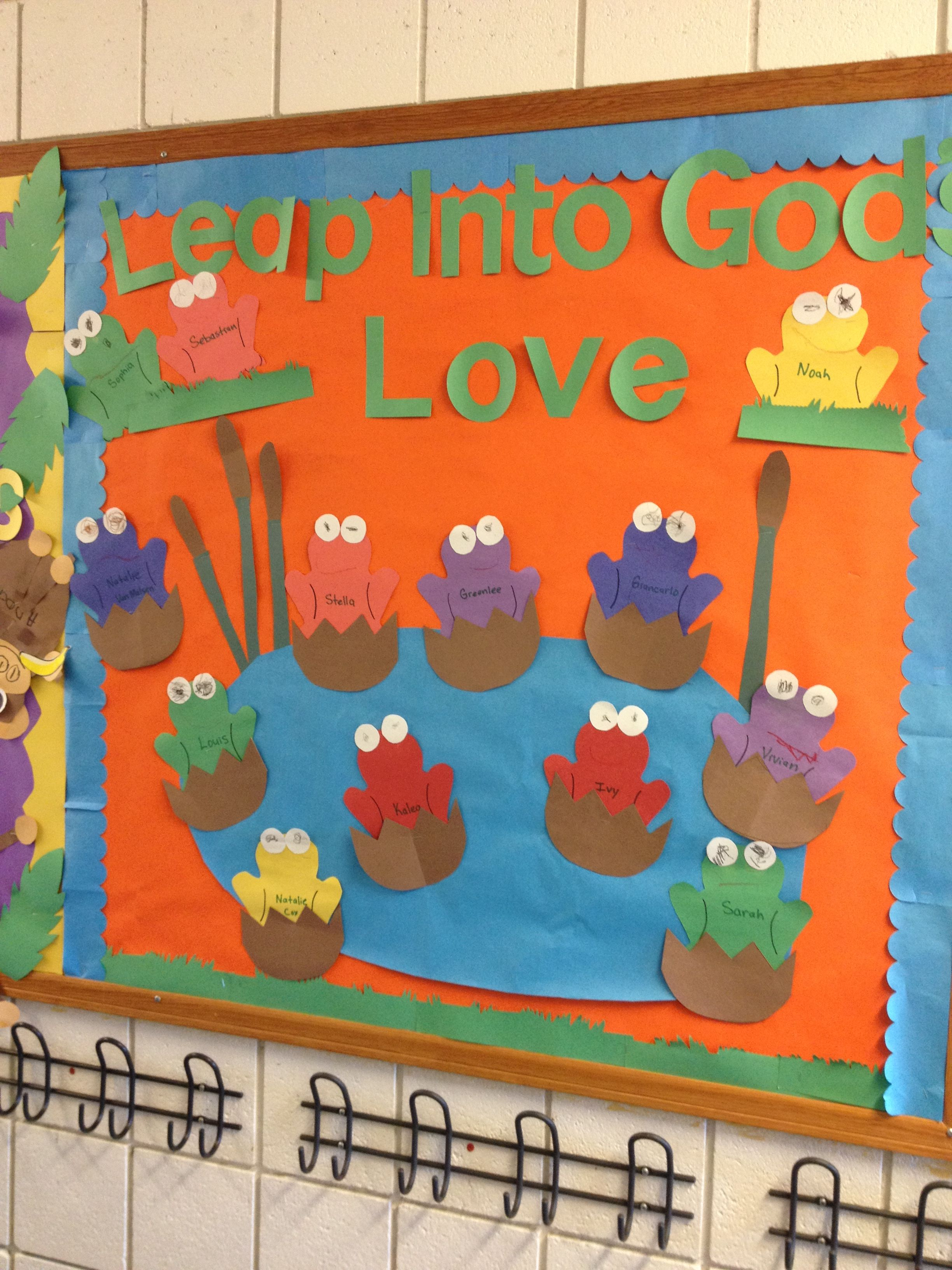 preschool spring bulletin board. I  used a plain frog template for the body shape them asked them to create the eyes and smile. This completed a month of counting and color recognition  with frogs. Our frogs were named Mr. Ribbits