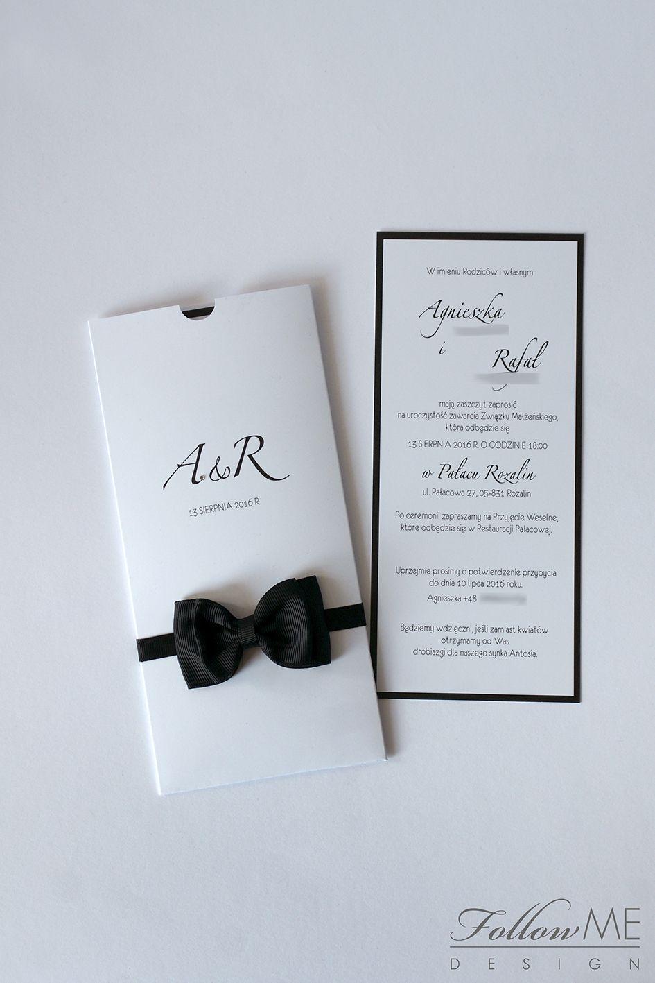 Białe zaproszenia ślubne z muszką Dekoracje ślubne inspirowane