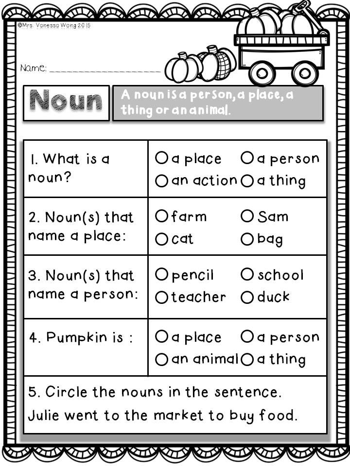 Download Free Printables At Preview Noun Quiz Fall Math And Literacy No Prep Kindergarten Worksheets Sight Words First Grade Worksheets First Grade Writing