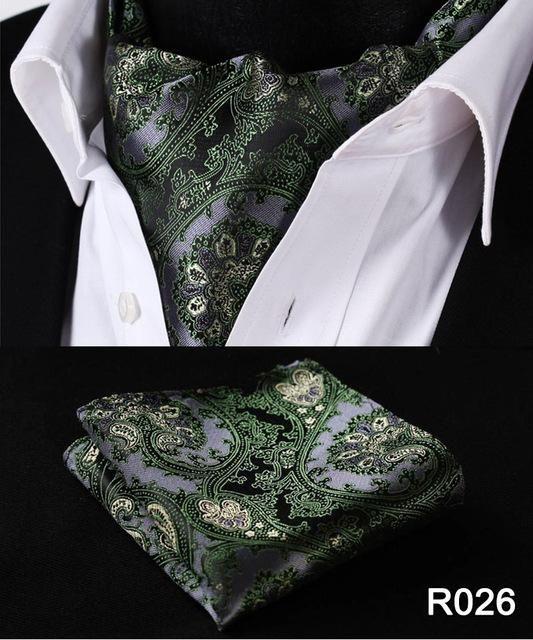 Pocket Square Wedding Floral Plaid Polka Dot Men Ascot Tie Handkerchief Set