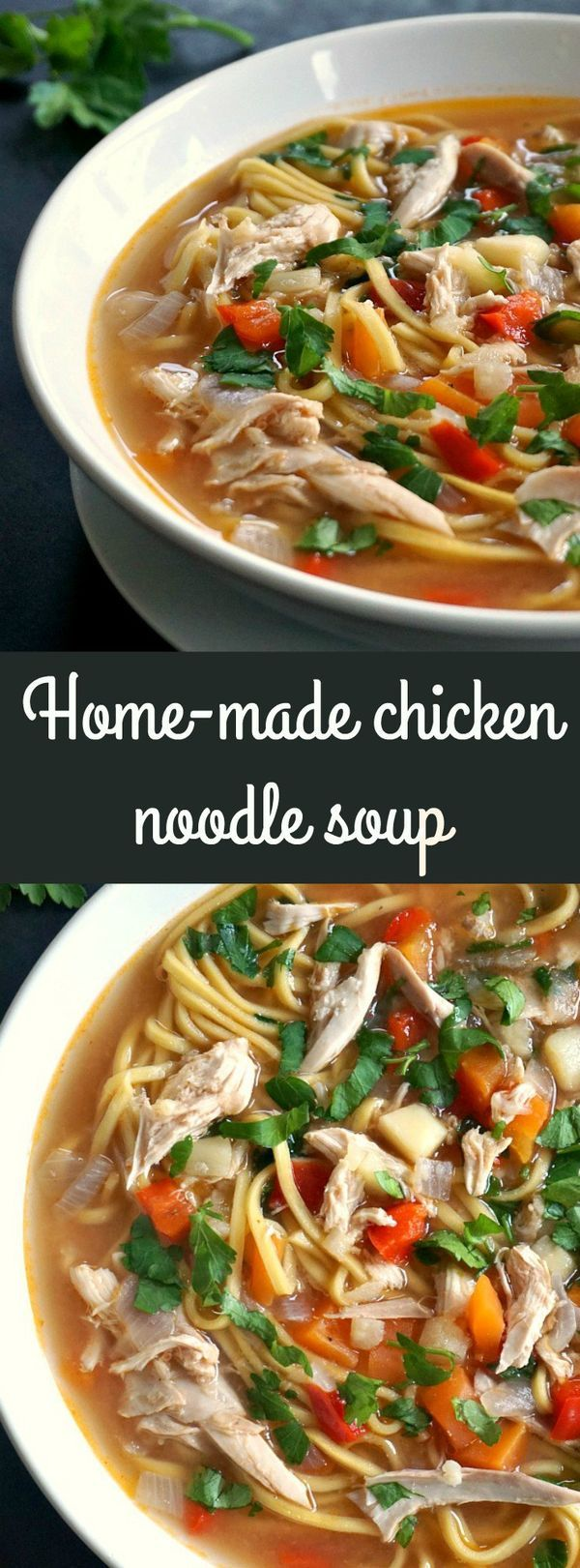 Home-made chicken noodle soup, a healthy recipe for the whole family and the best natural remedy against cold and flu. #NationalChickenNoodleSoupDay