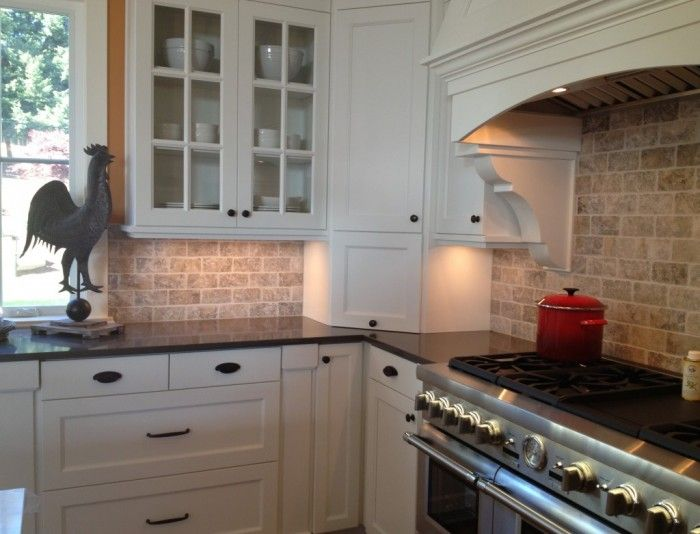 Kitchen Dining Tumbled Stone Backsplash Tiles With Offset Pattern