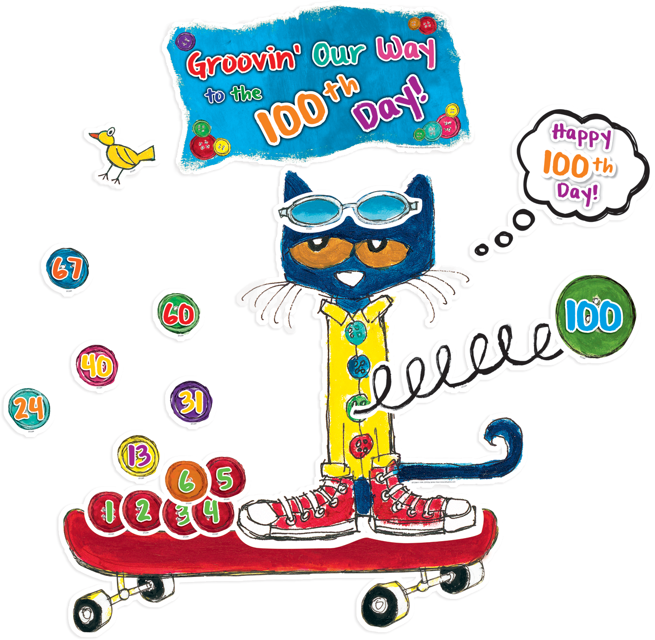 "Pete the Cat 100 Groovy Days of School Bulletin Board - Celebrate 100 groovy days of school with Pete the Cat! Students will love watching the buttons stack up all the way to the 100th day. Buttons are also perfect for patterning and counting activities. Includes ""We're Groovin' Our Way to the 100th Day"" banner, 100 buttons, 100th Day thought bubble, large Pete the Cat, skateboard, accent pieces, and teacher guide with activities and reproducibles."