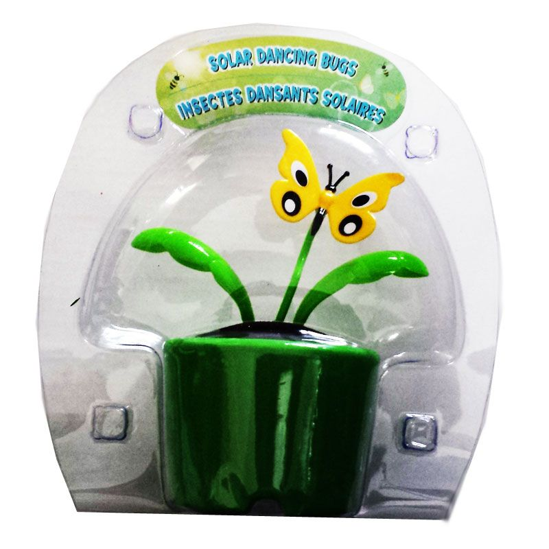Solar Powered Dancing Flip Flop Toy Yellow Butterfly Plant Pot Swing| Balli Gifts Online Store
