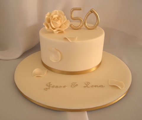 One Tier Golden Anniversary Cake Let Them Eat Cake 50th