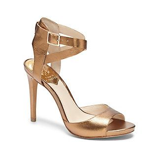 """FAUNORA-Have the best date night yet in the sensual Faunora shoe. A curved toe strap and crisscross top buckles provide a secure, comfortable fit, while a thin platform adds height to balance the generous heel. Get your chic on with cropped denim.  <li>4"""" heel"""
