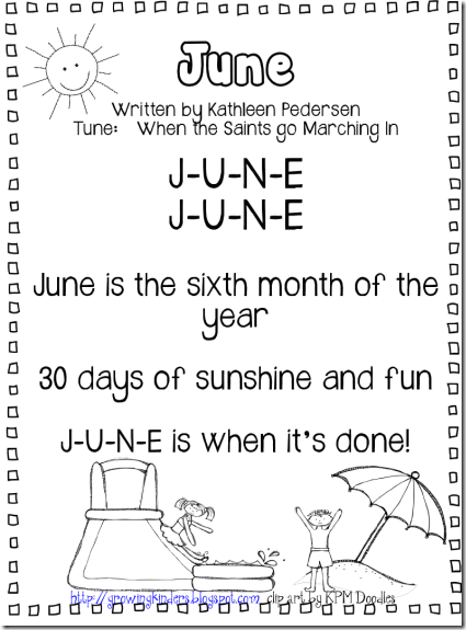 """June Calendar Song (tune: """"When the Saints Go Marching In"""" )"""