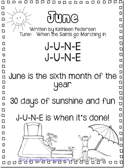 Calendar Poems For Kindergarten : June calendar song tune quot when the saints go marching in