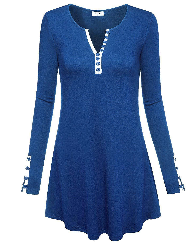 657e309799b YaYa Bay Women s Notch Neck Long Sleeve Henley Tunic Shirt Tops ...