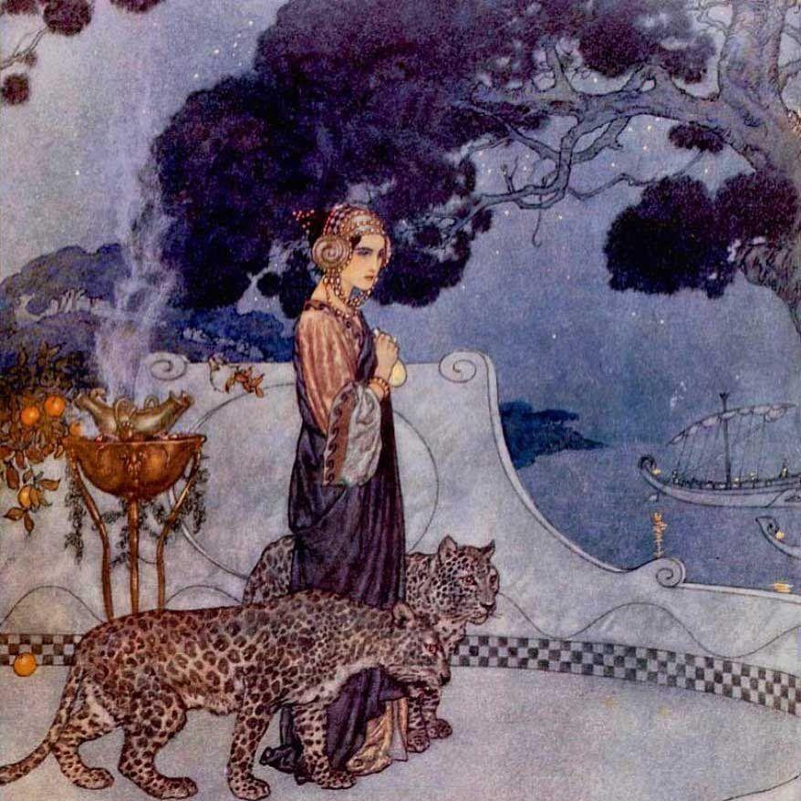 Vintage Illustration Gallery On Instagram Edmund Dulac Circe The Enchantress 1911 Edmunddulac Illustrator Watercolor Watercolour Mythology Leopards
