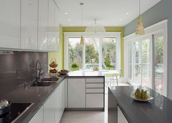 Charmant Modern White And Grey Kitchen Design With Green