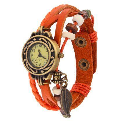 Orange+Weave+Leaf+Leather+Vintage+Bangle+Bracelet+Quartz+Wrist+Watch