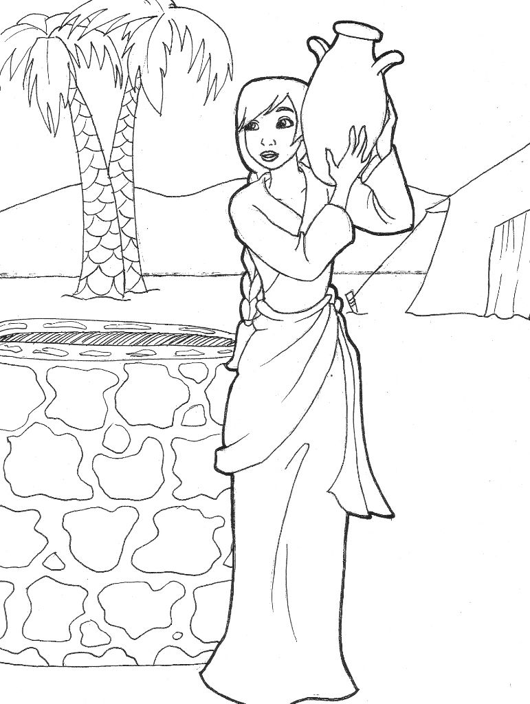 Free Coloring Pages Download Rebekah Drawing Water Genesis 24 By Likesototally Of Isaac And