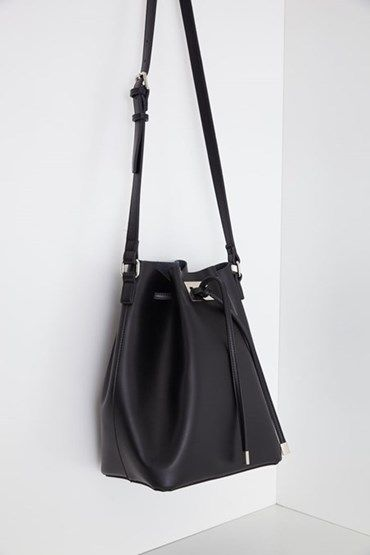 Photo of Women's Black Pleated Hanger Leather Bag