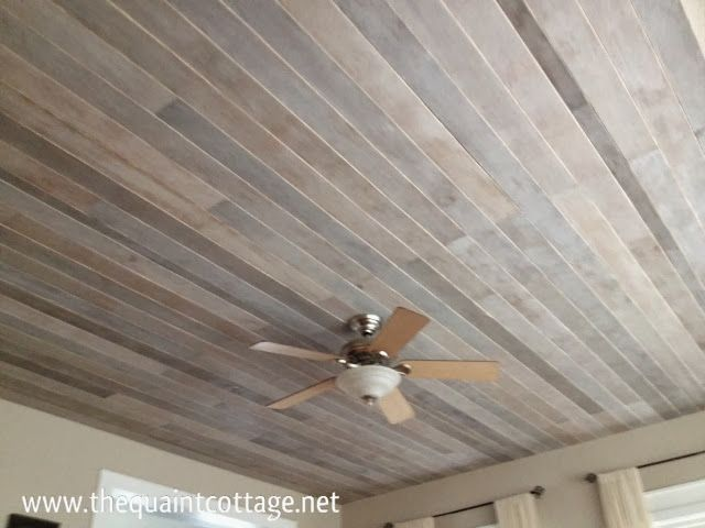 Diy how to cover a popcorn ceiling with a faux rustic for Faux wood ceiling planks