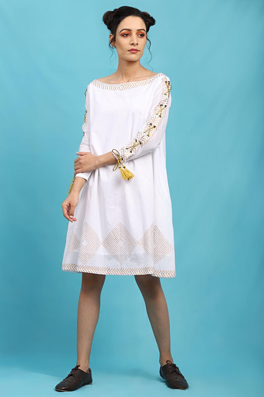 White Tie Up Sleeves A Line Dress A Line Dress Dresses White Tie [ 1500 x 1000 Pixel ]