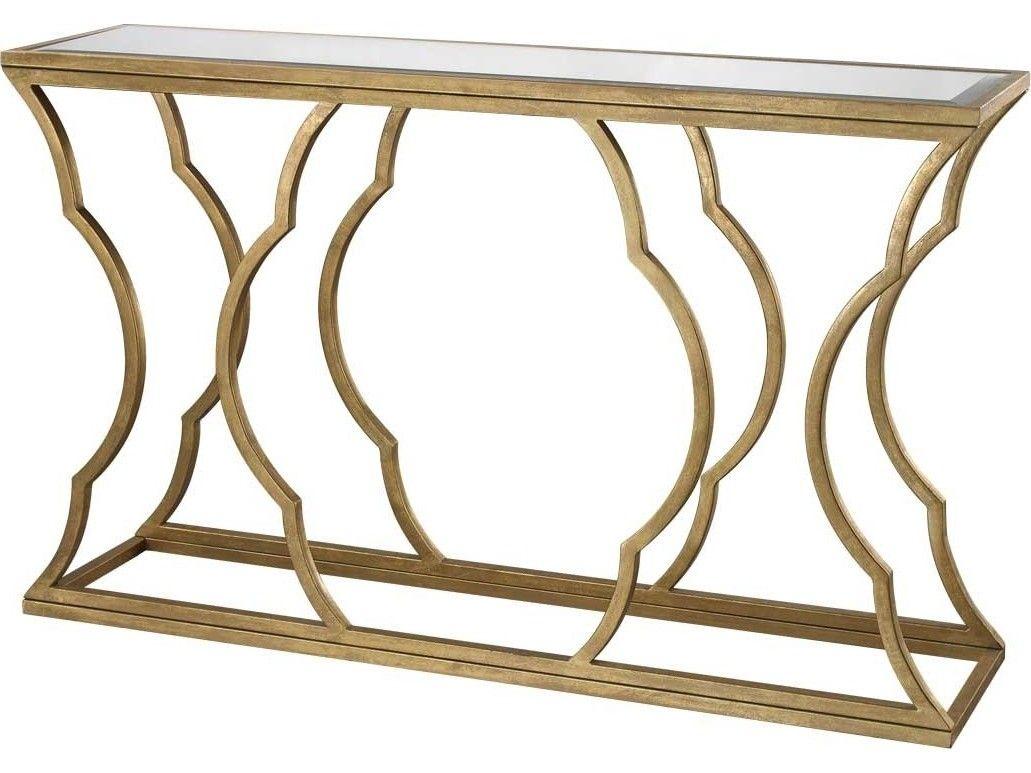 Lazy Susan 60 X 15 Rectangular Metal Cloud Antique Gold Console Table    114 116