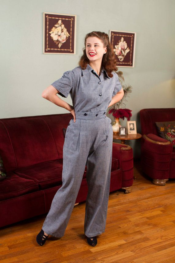 Vintage Wwii Coveralls Rare Tailored One Piece Womens