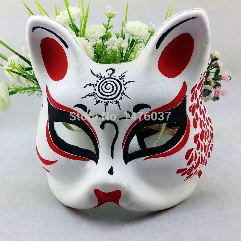 Alibaba グループ | AliExpress.comの パーティーマスク、仮面 からの 名: お面きつね日本マスク材料: 環境に優しいパルプサイズ: 15x23cm 中の お面きつね日本マスクハロウィン仮装パーティフルフェイスマスク1個送料無料
