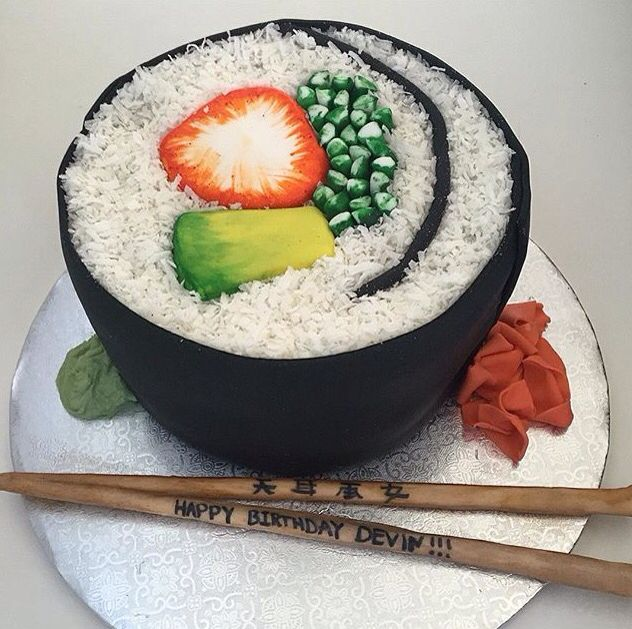 Excellent Giant Sushi Roll Birthday Cake Sushi Cake Birthday Sushi Cake Personalised Birthday Cards Veneteletsinfo