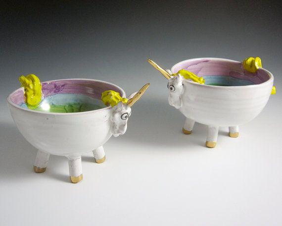 Ceramic Unicorn Bowl  Unicorn Pottery Bowl by ClayLickCreekPottery