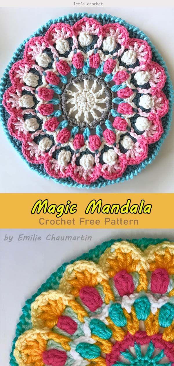 Magic Mandala Crochet Free Pattern #crochetmandalapattern
