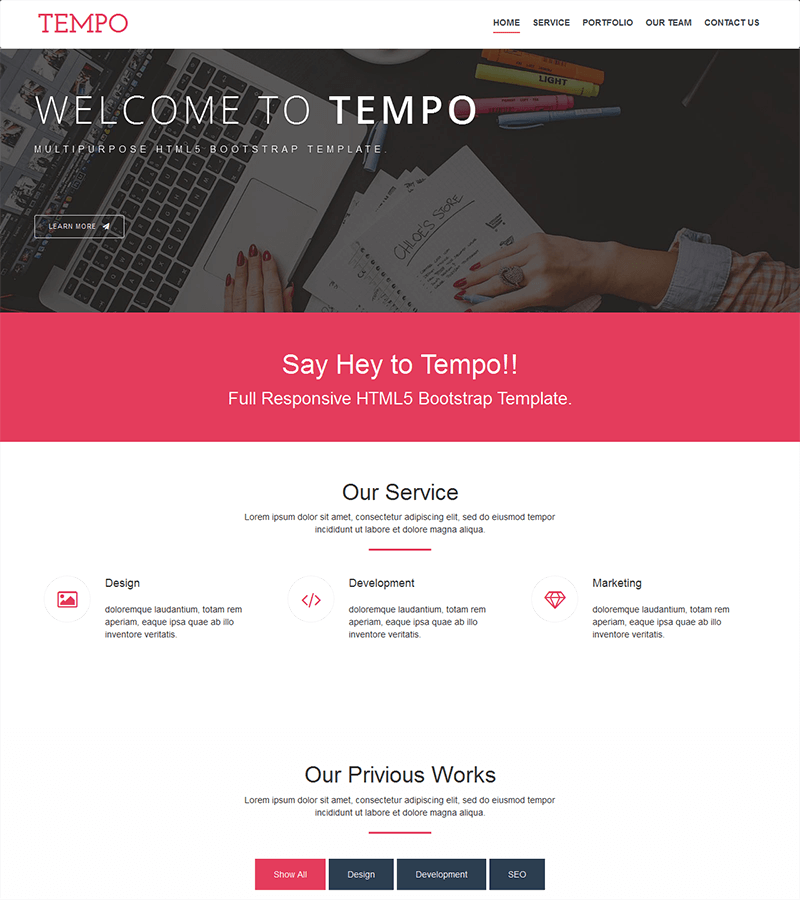 Tempo is a modern one page, free bootstrap theme. It is