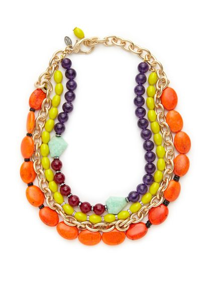 Tova Orange Howlite & Amethyst Multi Strand Link Necklace