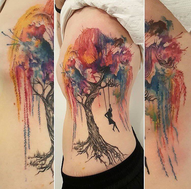 Watercolor Willow Tree And Swing By Amber Amberrobyntattoos