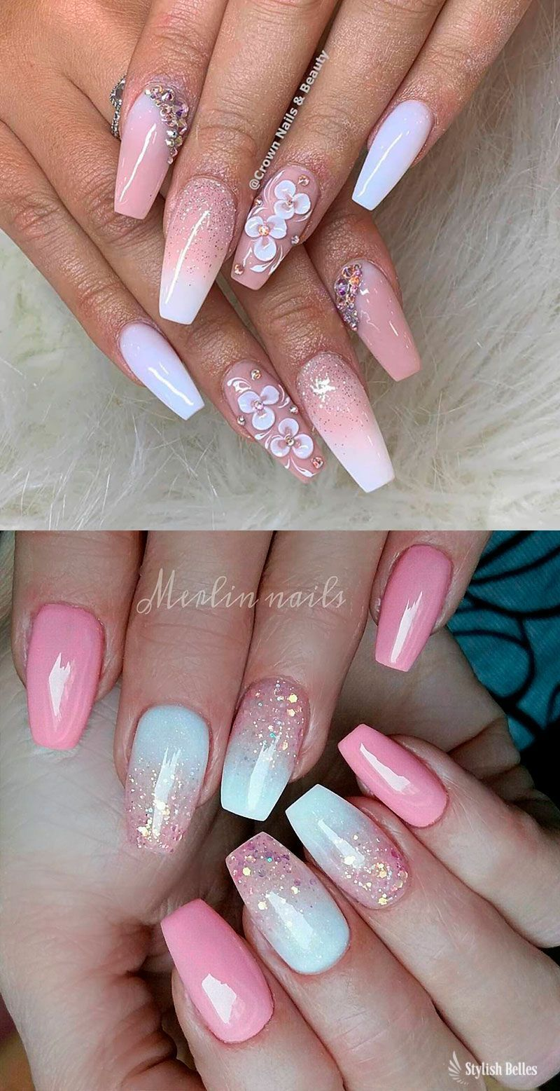 Gorgeous Pink And White Ombre Nails With Glitter Ideas Coffinnails Pinkandwhitenails Glitternails Ombrenails Ombre Nails Coffin Nails Designs Pink Nails