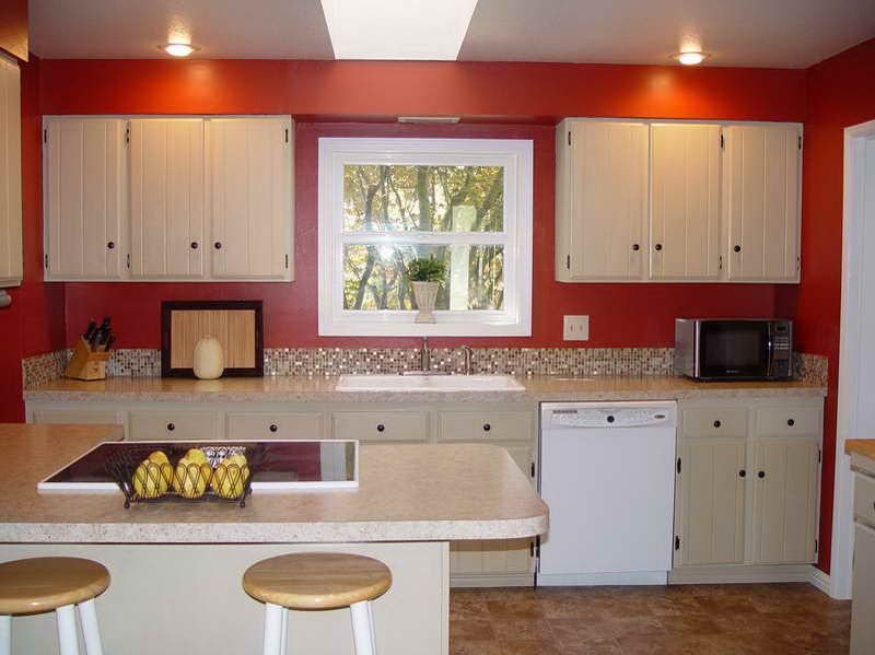 Red Wall Painting Colors For Kitchen With White Cabinets